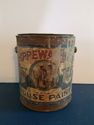 (VTG) 1930s chippewa chief paint can paper label stewart paint co Minneapolis mn