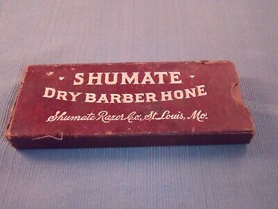 """Antique Shumate Dry Barber Hone in Box St Louis Mo 5 1/4"""" Long"""