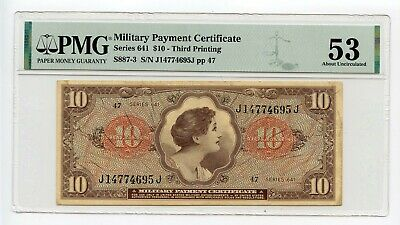 Series 641 $10 Military Payment Certificate (About Uncirculated 53) PMG