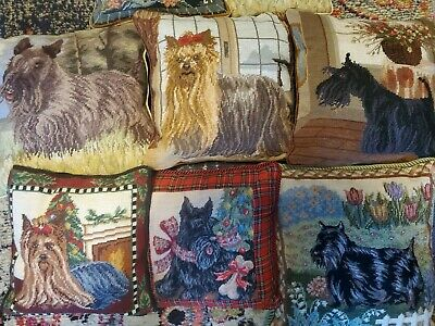 8 EMBROIDERED DOG PILLOWS Embroidery Scottish Yorkie Yorkshire Terrier Scottie