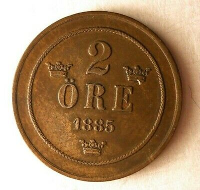 1885 SWEDEN 2 ORE - AU - Excellent Early Date Coin - Lot #M20