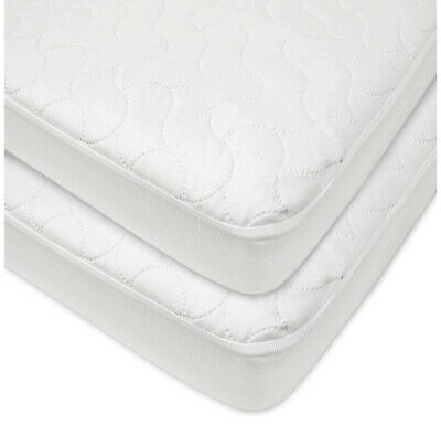 American Baby Company Waterproof Fitted Quilted Mattres Pad for Crib - White 2ct