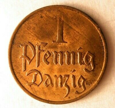 1926 DANZIG PFENNIG - High Grade Rare Coin - Lots of Red - Lot #M20