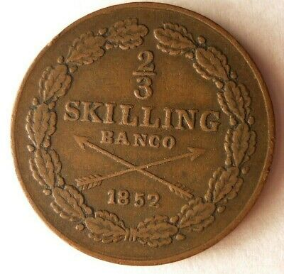1852 SWEDEN 2/3 SKILLING - High Grade Rare Coin - ++ Value - Lot #M20