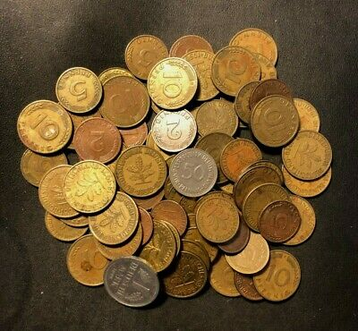 Vintage Germany Coin Lot - 70+ COINS -  Great Group - Lot #M20