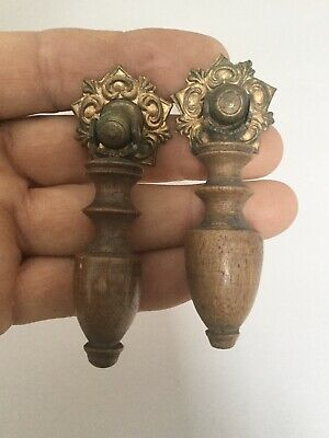 Pair DROP DOWN HANDLES Timber Brass Furniture Fittings Antique Vintage Drawer