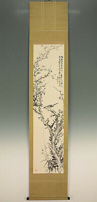 "掛軸1967 JAPANESE HANGING SCROLL ""Bird on Ume Tree""  @f371"