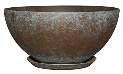"10"" Rosie Bowl Planter Weathered Copper Lightweight Yet Durable Construction"