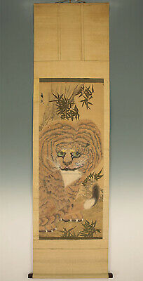 "掛軸1967 JAPANESE HANGING SCROLL : TANI BUNCHO ""Fierce Tiger""  @f375"
