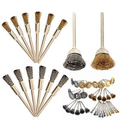 For Dremel Rotary Tool 36X Wire Steel Brass Brushes Polishing Brush Wheels Set