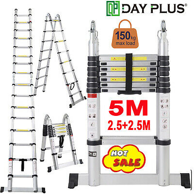5M Extension Ladder Portable Expandable Retractable Aluminum Collapsible Folding