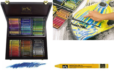 Caran D'Ache Neocolor II Water-soluble Pastels in a Wooden Gift/Presentation Box