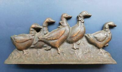 Vintage Cast Iron 5 Marching Ducks Doorstop Birds Geese? 1900s