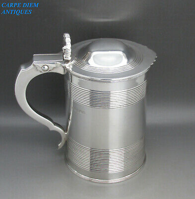 ANTIQUE GEORGIAN GOOD HEAVY SOLID STERLING SILVER QUART TANKARD 910g LONDON 1820
