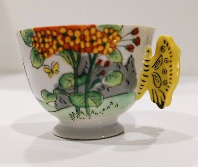 Vintage Hand Painted Japanese Tea Cup with Butterfly Handle