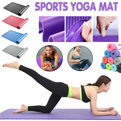 Yoga Mat Pilates Gym Non-Slip Thick Soft Mats Exercise Fitness Durable 10mm 15mm