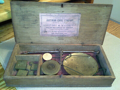 Gold Rush Justinian Caire Co. S.F. Cal. Assay Balance Scale, 3 Sets Wts, Excel
