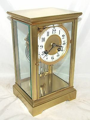 * Antique French Four Glass Brass Striking Bracket Mantel Clock CLEAN & SERVICED