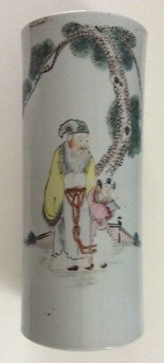 """Antique Chinese Porcelain Brush Pot 11"""" Tall"""