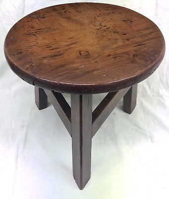 * Antique Solid Fruit Wood Miniature Cricket Table Apprentice Stool Table Stand