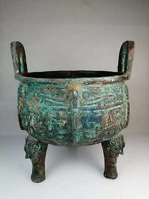 Chinese Exquisite Old bronze handmade Build beast pattern tripod
