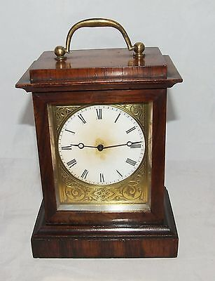 * Antique Rosewood Campaign Carriage Clock Style Mantel Bracket Timepiece Clock