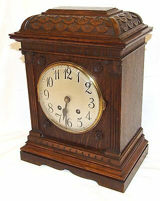 * Antique LENZKIRCH Carved Oak Bracket Clock : CLEANED AND SERVICED