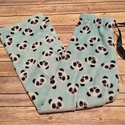 Rue21 Comfy Cozy Panda Light Blue PJ Pants Soft Womens Size Medium Fleece Fuzzy
