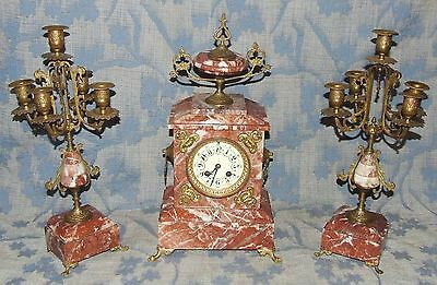 * French Antique Rouge Marble Bracket / Mantel Clock Garniture Set : A.D. MOUGIN