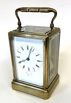 * Antique Brass STRIKING ON BELL Carriage Clock : HALL & CO MANCHESTER