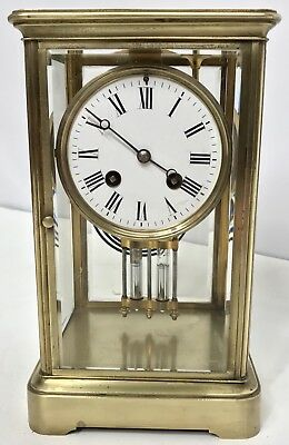 * Antique Four Glass Brass Striking Bracket Mantel Clock Brass Japy Freres