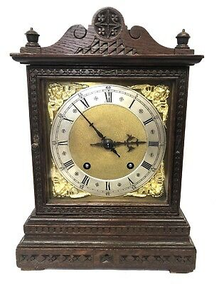 * WINTERHALDER HOFFMEIER W & H Antique Oak Bracket Mantel Clock SERVICED