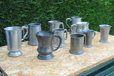 Job Lot Of Vintage Pewter Ware Tankards 3.1kg Scrap Or Collectable