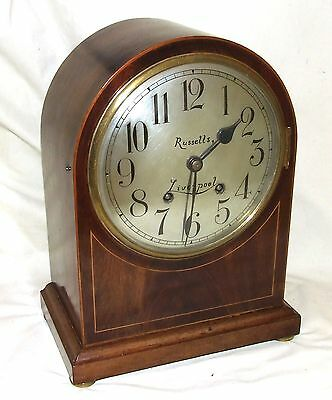 * W & H Antique Inlaid Mahogany Bracket Mantel Clock RUSSELLS LIVERPOOL