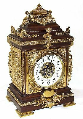 * MARTI French Antique Mahogany & Bronze Ormolu Mounts Bracket Cube Mantel Clock