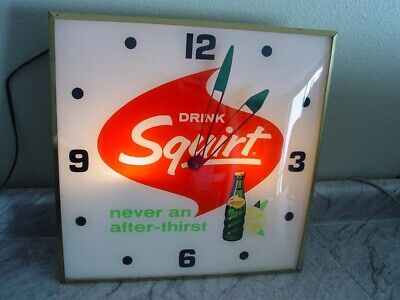 Vintage 1965 Drink Squirt Lighted Pam Wall Clock, Soda Pop Advertising