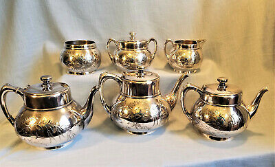 Outstanding Pairpoint Victorian Quad Silver Silverplate Tea Service No Monogram