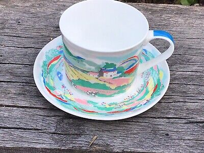 Cath Kidston Fine Bone China Tea Cup And Saucer Country Farm Scene - Rare