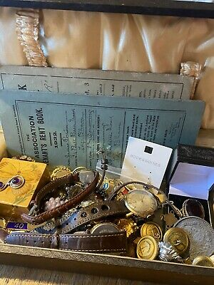 Interesting Joblot Of Antiques Collectables & Curio Inc Silver Gold Military