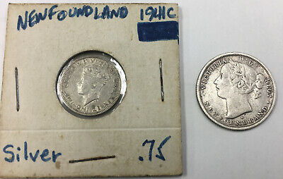 Newfoundland 1876 H, Silver 20 Cents Low Mintage & 1941 10 Cents