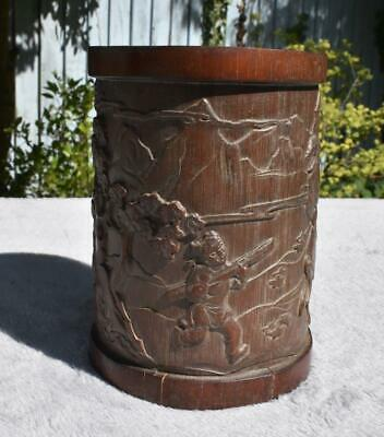 Fine Antique / Vintage Chinese Carved Bamboo Brush Pot - Signed