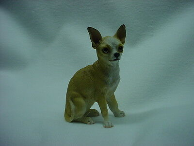 CHIHUAHUA dog HAND PAINTED FIGURINE Resin Statue Tan Brown Puppy COLLECTIBLE NEW