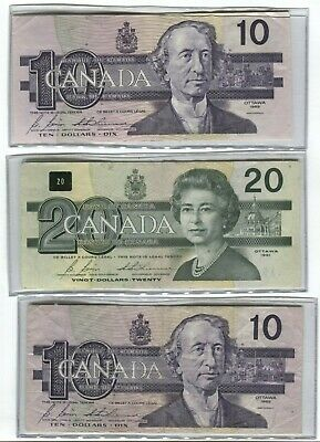 $40.00 Canada, Two $10.00 And One $20.00