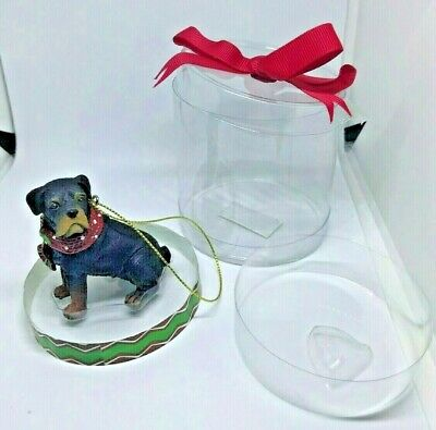 """Rottweiler Dog 3"""" Resin Figurine Ornament in Cello Gift Box by Ganz"""