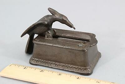Rare Antique 19thC Mechanical Cast Iron Bird, Match Holder Dispenser NO RESERVE