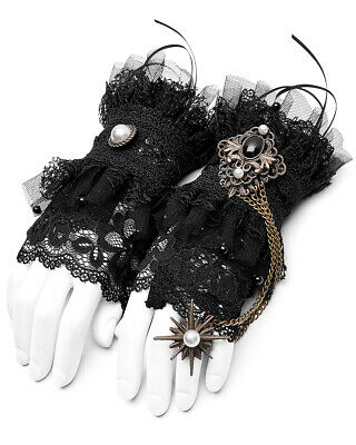 Punk Rave Steampunk Fingerless Cuff Gloves Black Lace Victorian Copper Chain VTG