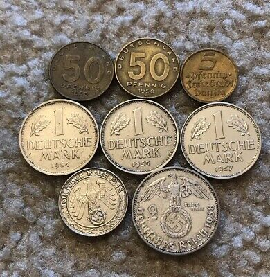 [NO RESERVE] Lot Of 8 Rare Germany & East German Coins - Danzig +1938 50 Pfennig