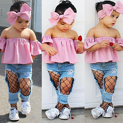 Toddler Kids Baby Girls Ruffle Sleeveless Tops Pants 3PCS Outfit Clothes Summer