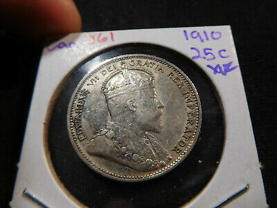 J61 Canada 1910 25 Cent XF