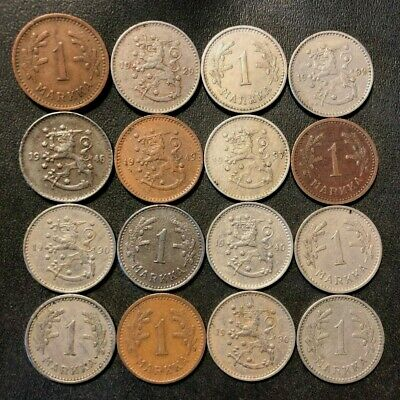 Old Finland Coin Lot - 1929-1946 - MARKKA - 16 EXCELLENT Rare Type Coins - #M21
